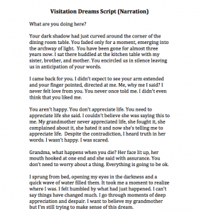 Visitation Dreams Script/Narration